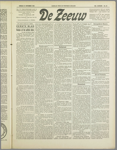 De Zeeuw. Christelijk-historisch nieuwsblad voor Zeeland 1934-11-13