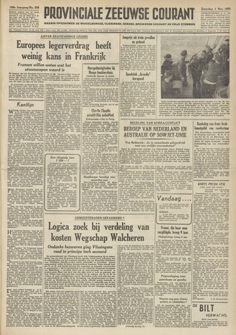 Provinciale Zeeuwse Courant 1952-11-01