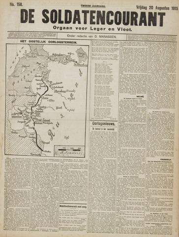 De Soldatencourant. Orgaan voor Leger en Vloot 1915-08-20