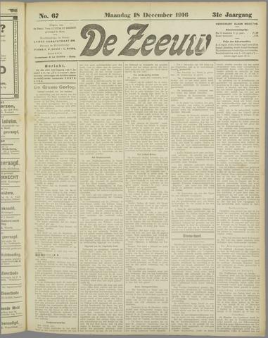 De Zeeuw. Christelijk-historisch nieuwsblad voor Zeeland 1916-12-18