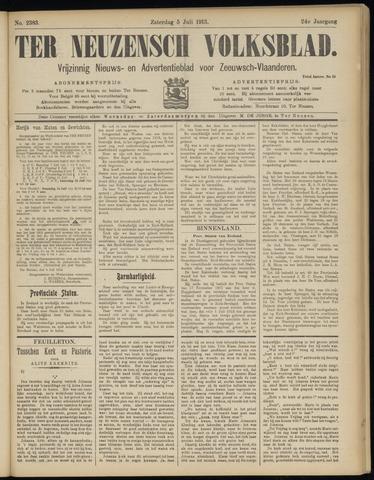Ter Neuzensch Volksblad. Vrijzinnig nieuws- en advertentieblad voor Zeeuwsch- Vlaanderen / Zeeuwsch Nieuwsblad. Nieuws- en advertentieblad voor Zeeland 1913-07-05