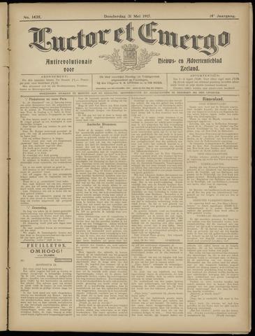 Luctor et Emergo. Antirevolutionair nieuws- en advertentieblad voor Zeeland / Zeeuwsch-Vlaanderen. Orgaan ter verspreiding van de christelijke beginselen in Zeeuwsch-Vlaanderen 1917-05-31