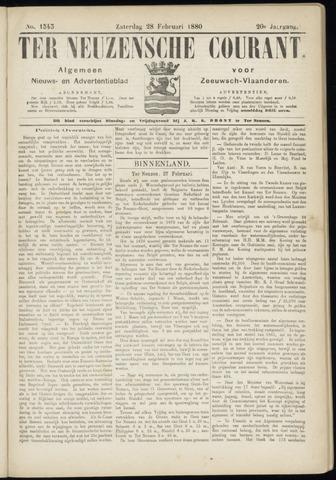 Ter Neuzensche Courant. Algemeen Nieuws- en Advertentieblad voor Zeeuwsch-Vlaanderen / Neuzensche Courant ... (idem) / (Algemeen) nieuws en advertentieblad voor Zeeuwsch-Vlaanderen 1880-02-28
