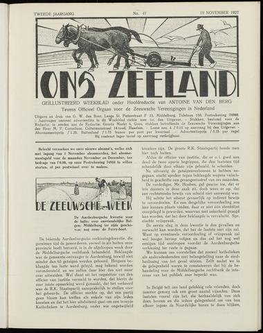Ons Zeeland / Zeeuwsche editie 1927-11-19