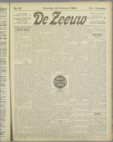 De Zeeuw. Christelijk-historisch nieuwsblad voor Zeeland 1924-02-16
