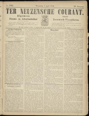 Ter Neuzensche Courant. Algemeen Nieuws- en Advertentieblad voor Zeeuwsch-Vlaanderen / Neuzensche Courant ... (idem) / (Algemeen) nieuws en advertentieblad voor Zeeuwsch-Vlaanderen 1883-04-04
