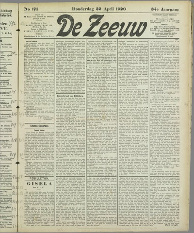 De Zeeuw. Christelijk-historisch nieuwsblad voor Zeeland 1920-04-22