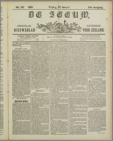 De Zeeuw. Christelijk-historisch nieuwsblad voor Zeeland 1910-01-28