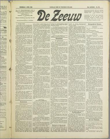 De Zeeuw. Christelijk-historisch nieuwsblad voor Zeeland 1934-04-04