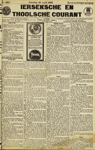 Ierseksche en Thoolsche Courant 1922-04-29