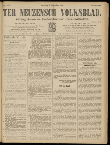 Ter Neuzensch Volksblad. Vrijzinnig nieuws- en advertentieblad voor Zeeuwsch- Vlaanderen / Zeeuwsch Nieuwsblad. Nieuws- en advertentieblad voor Zeeland 1911-12-09