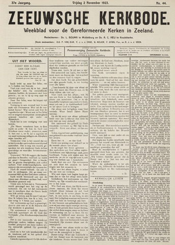 Zeeuwsche kerkbode, weekblad gewijd aan de belangen der gereformeerde kerken/ Zeeuwsch kerkblad 1923-11-02