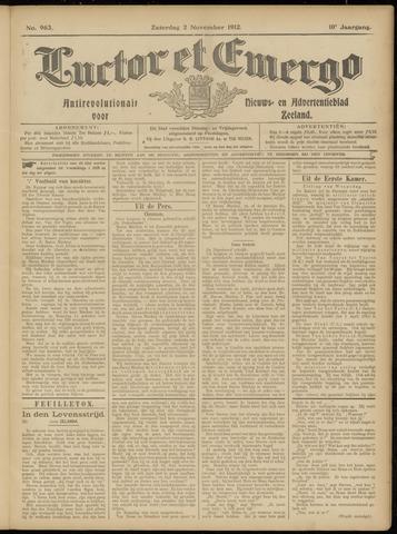 Luctor et Emergo. Antirevolutionair nieuws- en advertentieblad voor Zeeland / Zeeuwsch-Vlaanderen. Orgaan ter verspreiding van de christelijke beginselen in Zeeuwsch-Vlaanderen 1912-11-02