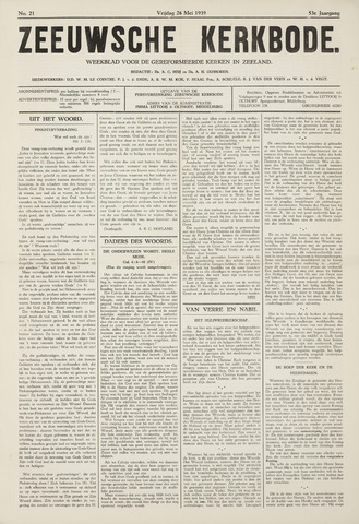 Zeeuwsche kerkbode, weekblad gewijd aan de belangen der gereformeerde kerken/ Zeeuwsch kerkblad 1939-05-26