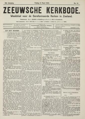 Zeeuwsche kerkbode, weekblad gewijd aan de belangen der gereformeerde kerken/ Zeeuwsch kerkblad 1924-03-21