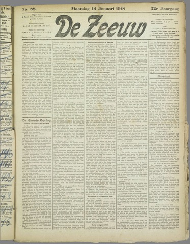 De Zeeuw. Christelijk-historisch nieuwsblad voor Zeeland 1918-01-14