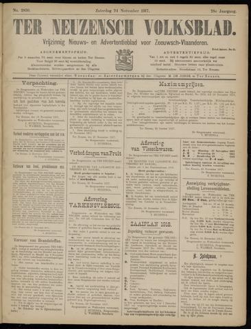 Ter Neuzensch Volksblad. Vrijzinnig nieuws- en advertentieblad voor Zeeuwsch- Vlaanderen / Zeeuwsch Nieuwsblad. Nieuws- en advertentieblad voor Zeeland 1917-11-24