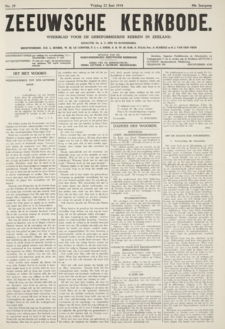 Zeeuwsche kerkbode, weekblad gewijd aan de belangen der gereformeerde kerken/ Zeeuwsch kerkblad 1934-06-22
