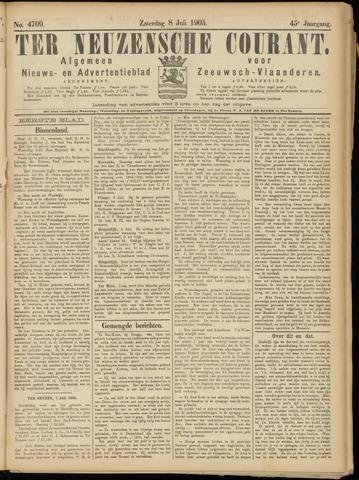 Ter Neuzensche Courant. Algemeen Nieuws- en Advertentieblad voor Zeeuwsch-Vlaanderen / Neuzensche Courant ... (idem) / (Algemeen) nieuws en advertentieblad voor Zeeuwsch-Vlaanderen 1905-07-08