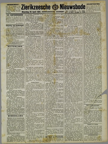 Zierikzeesche Nieuwsbode 1921-04-25