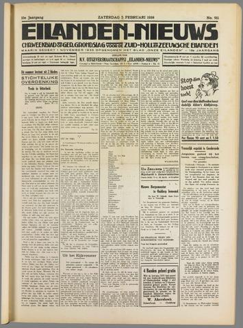 Eilanden-nieuws. Christelijk streekblad op gereformeerde grondslag 1938-02-05