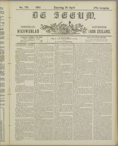 De Zeeuw. Christelijk-historisch nieuwsblad voor Zeeland 1910-04-30