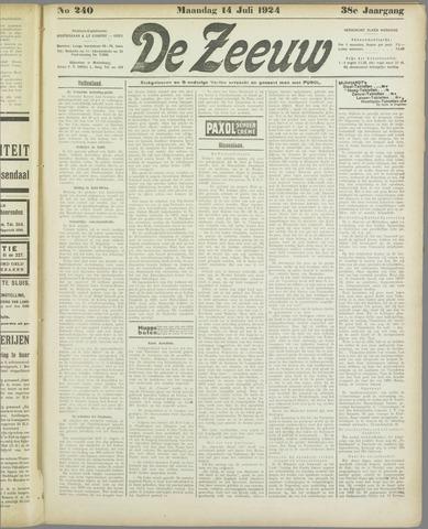 De Zeeuw. Christelijk-historisch nieuwsblad voor Zeeland 1924-07-14