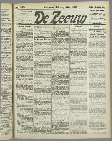 De Zeeuw. Christelijk-historisch nieuwsblad voor Zeeland 1918-08-24
