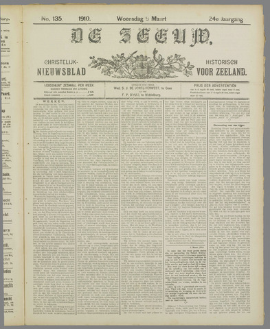 De Zeeuw. Christelijk-historisch nieuwsblad voor Zeeland 1910-03-09
