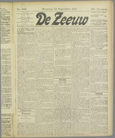 De Zeeuw. Christelijk-historisch nieuwsblad voor Zeeland 1919-09-22