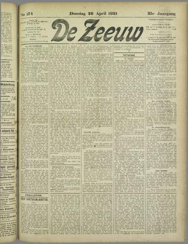 De Zeeuw. Christelijk-historisch nieuwsblad voor Zeeland 1921-04-26