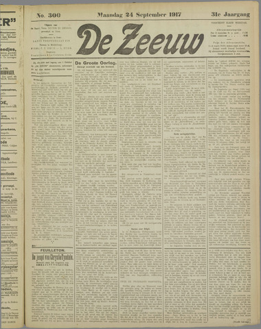 De Zeeuw. Christelijk-historisch nieuwsblad voor Zeeland 1917-09-24