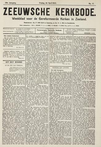 Zeeuwsche kerkbode, weekblad gewijd aan de belangen der gereformeerde kerken/ Zeeuwsch kerkblad 1925-04-24