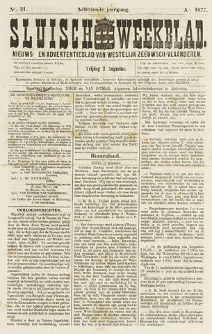 Sluisch Weekblad. Nieuws- en advertentieblad voor Westelijk Zeeuwsch-Vlaanderen 1877-08-03