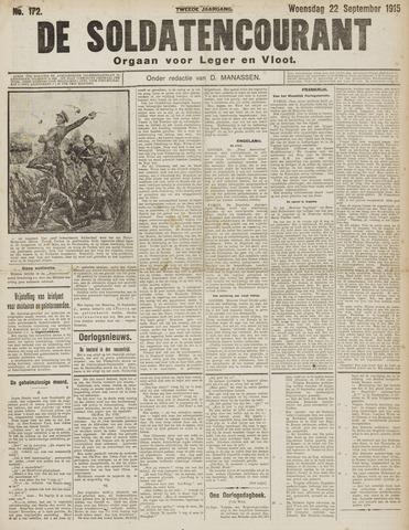 De Soldatencourant. Orgaan voor Leger en Vloot 1915-09-22