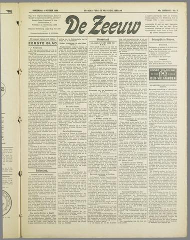 De Zeeuw. Christelijk-historisch nieuwsblad voor Zeeland 1934-10-04