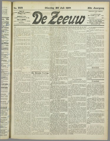De Zeeuw. Christelijk-historisch nieuwsblad voor Zeeland 1918-07-30