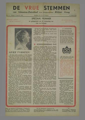 Vrije Stemmen van Schouwen-Duiveland, tevens mededeelingenblad Militair Gezag 1945-08-31