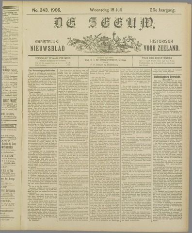 De Zeeuw. Christelijk-historisch nieuwsblad voor Zeeland 1906-07-18
