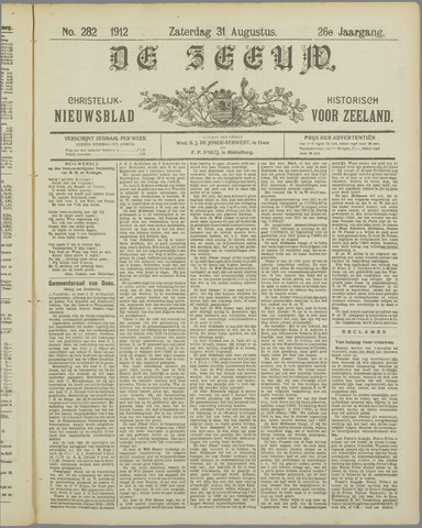 De Zeeuw. Christelijk-historisch nieuwsblad voor Zeeland 1912-08-31
