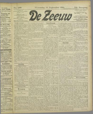 De Zeeuw. Christelijk-historisch nieuwsblad voor Zeeland 1919-09-10