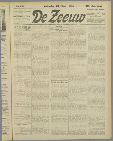 De Zeeuw. Christelijk-historisch nieuwsblad voor Zeeland 1915-03-20