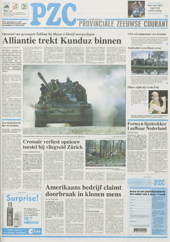 Provinciale Zeeuwse Courant 2001-11-26