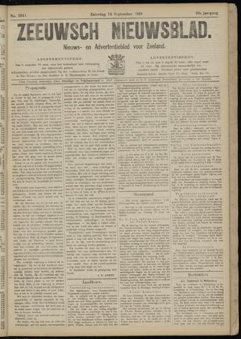 Ter Neuzensch Volksblad. Vrijzinnig nieuws- en advertentieblad voor Zeeuwsch- Vlaanderen / Zeeuwsch Nieuwsblad. Nieuws- en advertentieblad voor Zeeland 1918-09-14