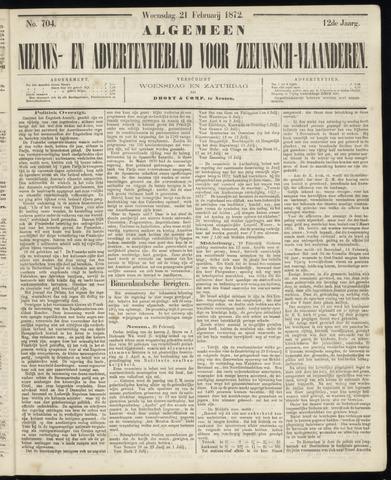 Ter Neuzensche Courant. Algemeen Nieuws- en Advertentieblad voor Zeeuwsch-Vlaanderen / Neuzensche Courant ... (idem) / (Algemeen) nieuws en advertentieblad voor Zeeuwsch-Vlaanderen 1872-02-21