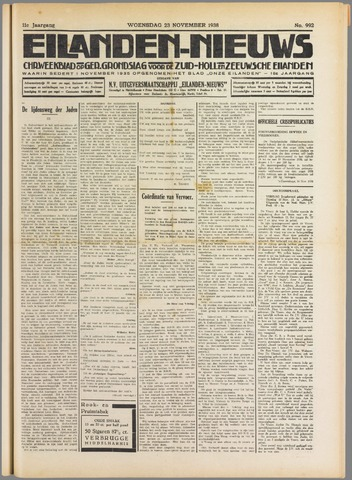Eilanden-nieuws. Christelijk streekblad op gereformeerde grondslag 1938-11-23