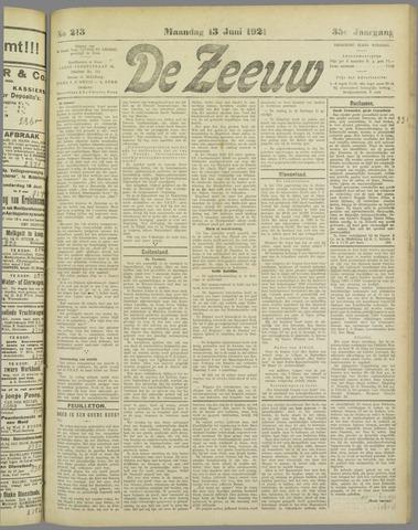 De Zeeuw. Christelijk-historisch nieuwsblad voor Zeeland 1921-06-13