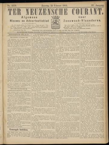 Ter Neuzensche Courant. Algemeen Nieuws- en Advertentieblad voor Zeeuwsch-Vlaanderen / Neuzensche Courant ... (idem) / (Algemeen) nieuws en advertentieblad voor Zeeuwsch-Vlaanderen 1911-02-25