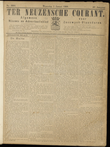 Ter Neuzensche Courant. Algemeen Nieuws- en Advertentieblad voor Zeeuwsch-Vlaanderen / Neuzensche Courant ... (idem) / (Algemeen) nieuws en advertentieblad voor Zeeuwsch-Vlaanderen 1908