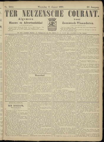 Ter Neuzensche Courant. Algemeen Nieuws- en Advertentieblad voor Zeeuwsch-Vlaanderen / Neuzensche Courant ... (idem) / (Algemeen) nieuws en advertentieblad voor Zeeuwsch-Vlaanderen 1888-01-11